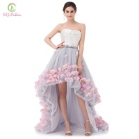 Vestidos New Fashion Sexy Strapless Sleeveless Short Front Back Long Lace Flower Evening Dress Bride Banquet