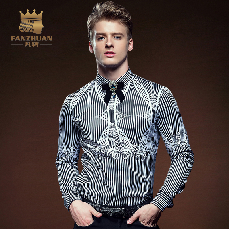 FANZHUAN 2017 Fall New Striped Men Print Shirt Long Sleeve Arrival Casual Male Fashion Clothing Chemise Homme Plus Size 5XL new arrival spring fall children shirt striped long sleeved shirt 100