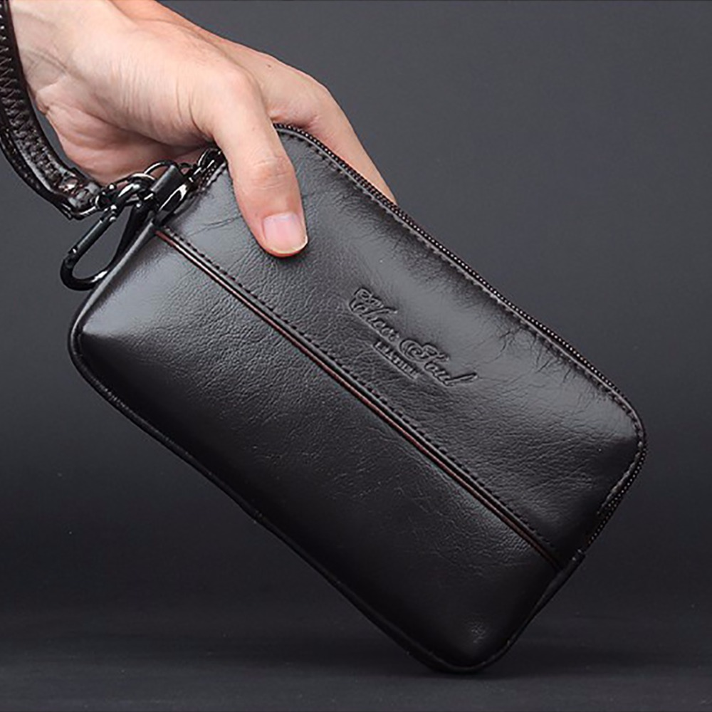 100% Genuine Cow Leather Men Clutch Bag Wrist Handbags Multi-purpose Loop Belt Waist Bags Purse Cell/Mobile Phone Holder Wallet купить