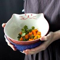 8 inch Cartoon Kitty Bowl Ceramic Noodle Bowl Blue Red Cat Large Bowls Creative Restaurant Maneki Neko Household Soup Bowl