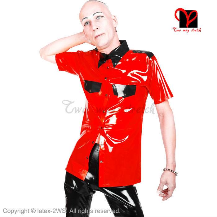 Latex military uniform T Tee shirt button turn down collar pocket flap Rubber Top Gummi blouse catsuit Army Red and Black SY-006 ruffled button down blouse in black