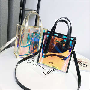 Transparent Handbag Composite-Bag Laser-Messenger-Bags Jelly-Rainbow-Hologram Holographic