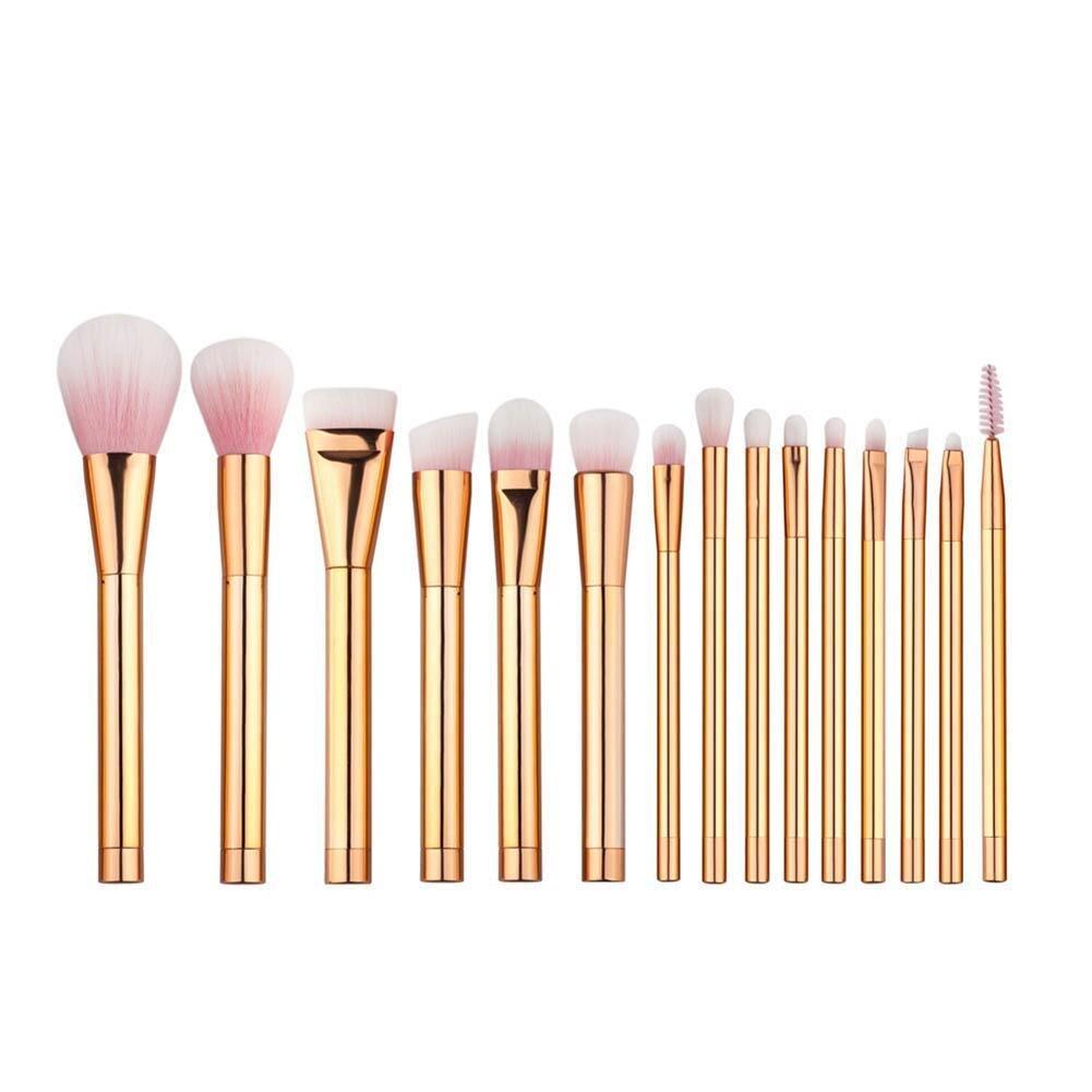 15pcs Rose Gold Makeup Brushes Set Foundation Blush Powder Concealer Brush Cosmetic Tools Kit Y2