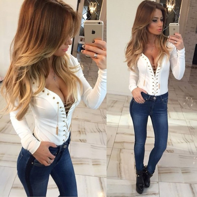 Speical Design 2018 Spring Summer Ladies Top Hollow Out Tops Tee Solid V Neck T Shirt Women Long Sleeve Slim Fit Fashion in T Shirts from Women 39 s Clothing
