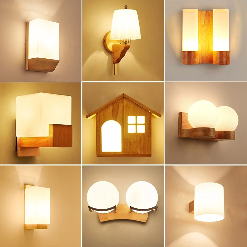 Wand Lamp Nordic Sconce Wall Lights Wood Led Wandlamp Glass Lamp