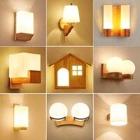 Nordic Sconce Wall Lights Wood Led Wandlamp Glass Lamp luminaria Modern Loft decor Bedroom Hallway Lights Fixtures AC90 260V