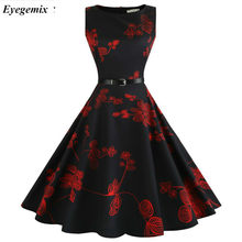 Summer Womens Dresses 2019 Casual Floral Retro Vintage 50s 60s Robe Rockabilly Swing Pinup Vestidos Valentines Day Party Dress(China)