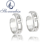 Slovecabin New Collection Authentic 925 Sterling Silver Hoop Earrings For Women Moved Stone Earrings High Quality Fine Jewelry
