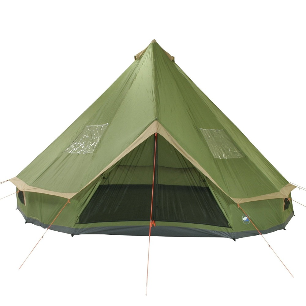 DANCHEL Tipi 100% Polyester with PU Coating Waterproof Bell Teepee Tent 5M Green Luxury Cabin Tent danchel 4m 5m 900d oxford bell tent with top waterproof awning