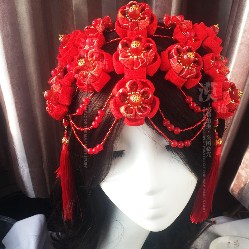 Red bridal headdress Set Bride Hanfu Classical Headdress Kimono Headwear For Cosplay Custom O fascinator fashion bride headdress feathers dance show headdress covered the face veil party hat headdress hairpin headwear
