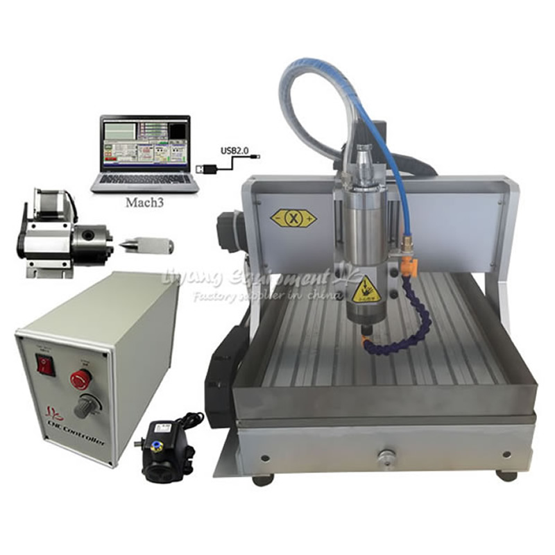 1.5KW 4 axis CNC 3040 Router assembled USB cnc engraving machine with water tank cnc 5axis a aixs rotary axis t chuck type for cnc router cnc milling machine best quality