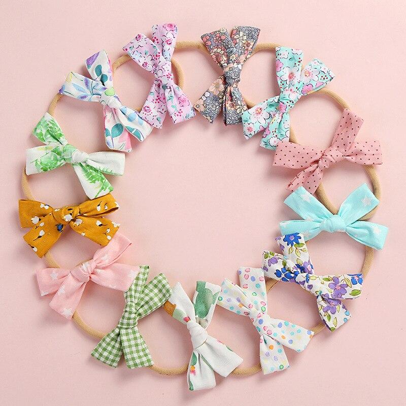 1PCS Print Flower Bow Hair Band Nylon Headband For Baby Girls Stretch Headbands Cute Headwear Hair Accessories Head Wrap