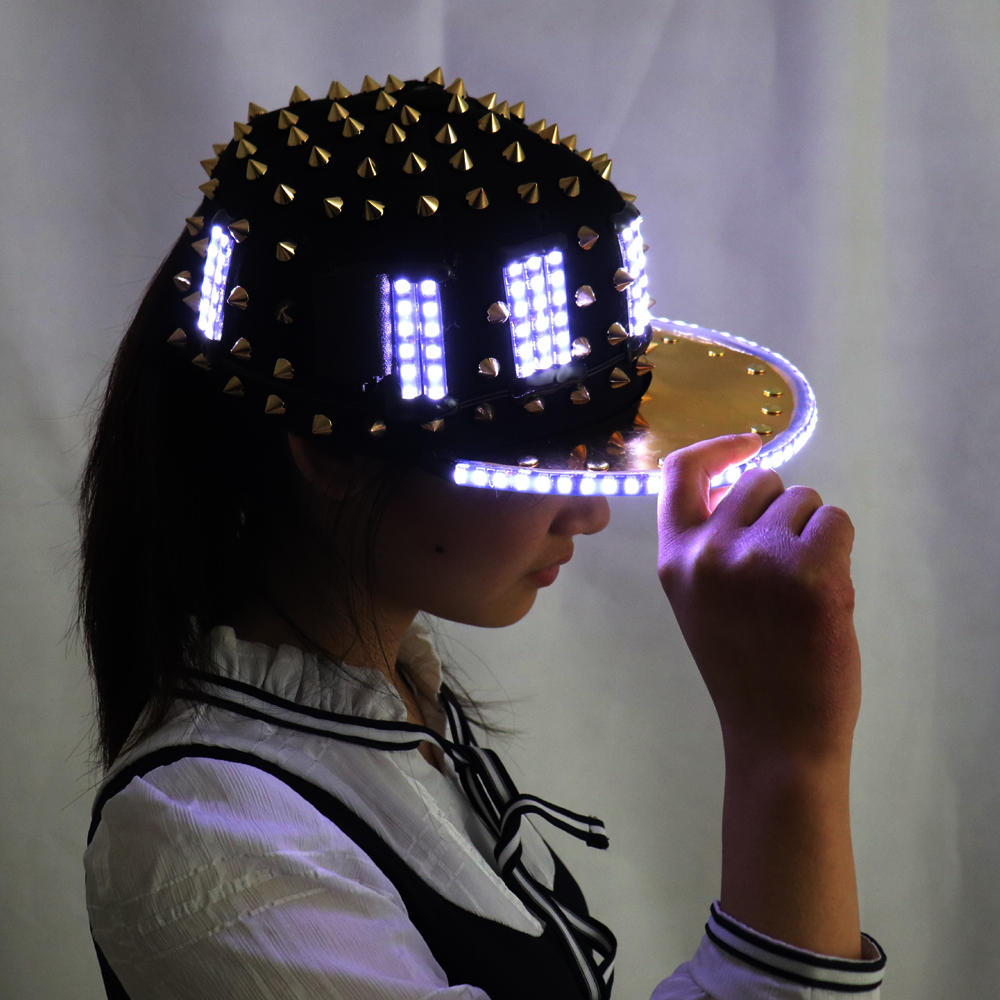 Unisex Punk Hedgehog Rock Rivet Cap Newest Unique Gold Silver Rivet LED Hat Fashion Snapback for