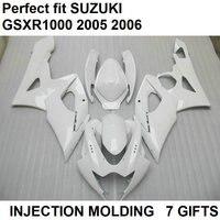 White 100% fit for Suzuki injection molded fairings GSXR1000 k5 k6 fairing kit GSXR1000 2005 2006 LY18