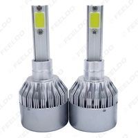 1Pair All In One Car LED Headlight 2 COB 6500K C6 72W 7600LM H1 Auto LED