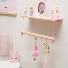 Double Layer DIY Nordic Wall Shelves Wood Wall Clapboard with Colorful Bead Hook Quality Children Room Decorative Coat Rack Gift стоимость