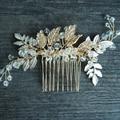Handmade Do Vintage Floral Acessórios Para o Cabelo de Noiva Tiara De Cristal Do Casamento Das Mulheres Do Partido do Ouro Jóias Pentear O Cabelo