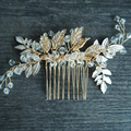 Handmade Vintage Gold Floral Bridal Hair Accessories Wedding Tiara Crystal Women Party Jewelry Hair Comb
