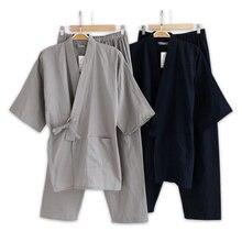 Японские пижамные комплекты размера плюс XL, мужские пижамы из хлопка, купальные комплекты для мужчин, кимоно, Халаты для мужчин