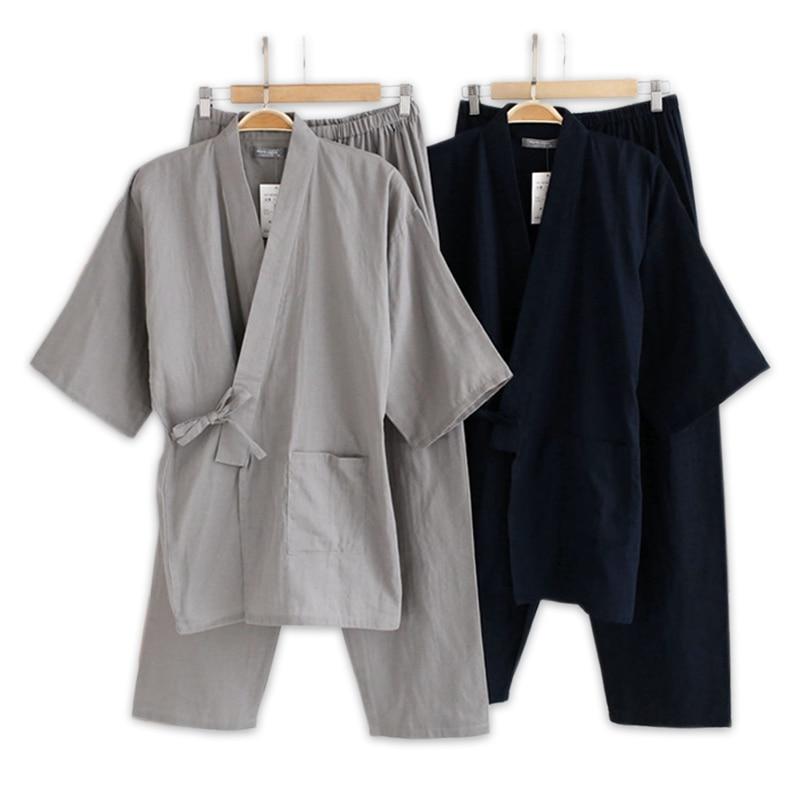 Plus Size XL Japanese Pajamas Sets Mens Pijamas Male 100% Cotton Spa Robe Sets For Male Boxer Kimono Robes Men Hombre