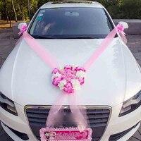 รถแต่งงานตกแต่งดอกไม้พวงหรีดดอกไม้ประดิษฐ์ตกแต่งรถชุดผ้าไหมดอกไม้เพิร์ลการ์แลนด์จัดงา...