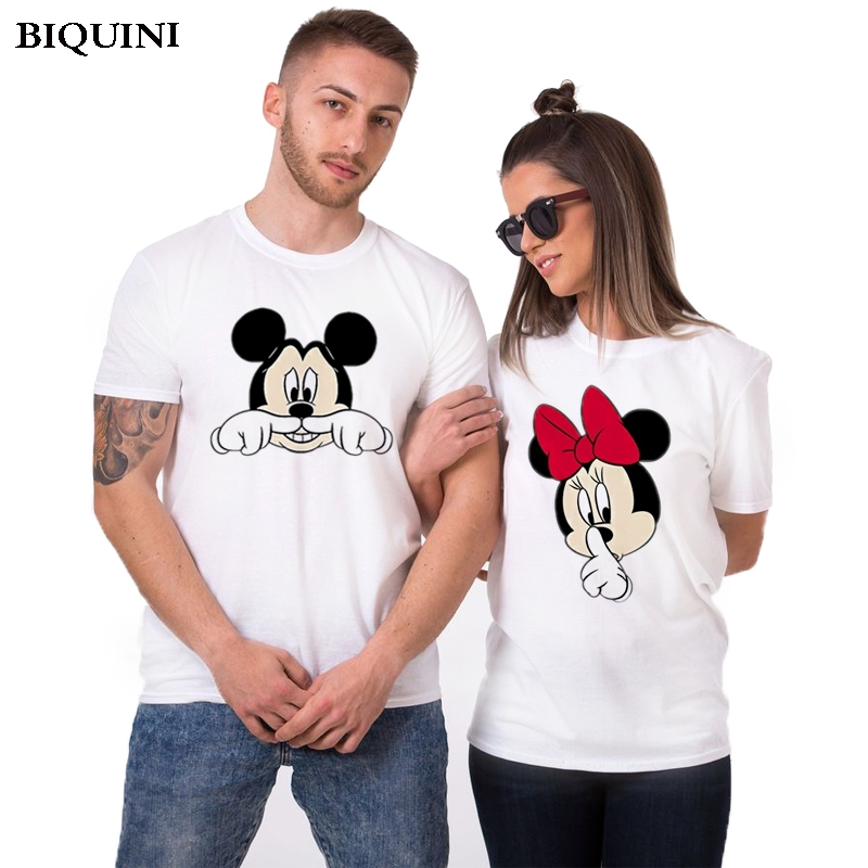 Mickey Funny Couple T Shirts Men/women Harajuku Kawaii Streetwear Summer Short Sleeve Female T-shirts Top 2019 Homme Clothing