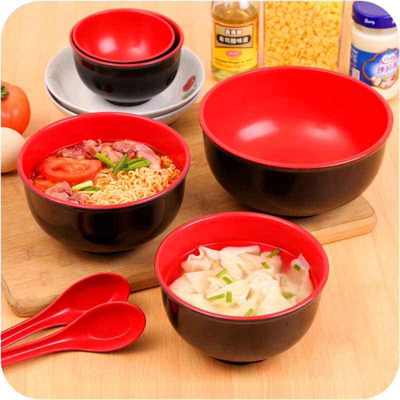Estilo japonês melamina imitação porcelana tigela utensílios de cozinha sopa macarrão tigela arroz 8 polegada grande ramen tigela colher anti gota