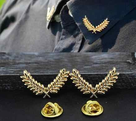 Korean three-dimensional metal wheat couple brooch small collar button Accessories Suit shirt collar pin