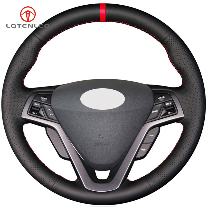 LQTENLEO Black Genuine Leather DIY Hand stitched Car Steering Wheel Cover for Hyundai Veloster