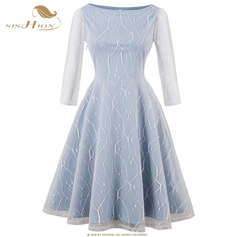 SISHION Hepburn Vintage Dress 3/4 Sleeve Elegant Women Ladies Spring White Light Blue Big Swing Sexy Party Lace Dresses VD0682