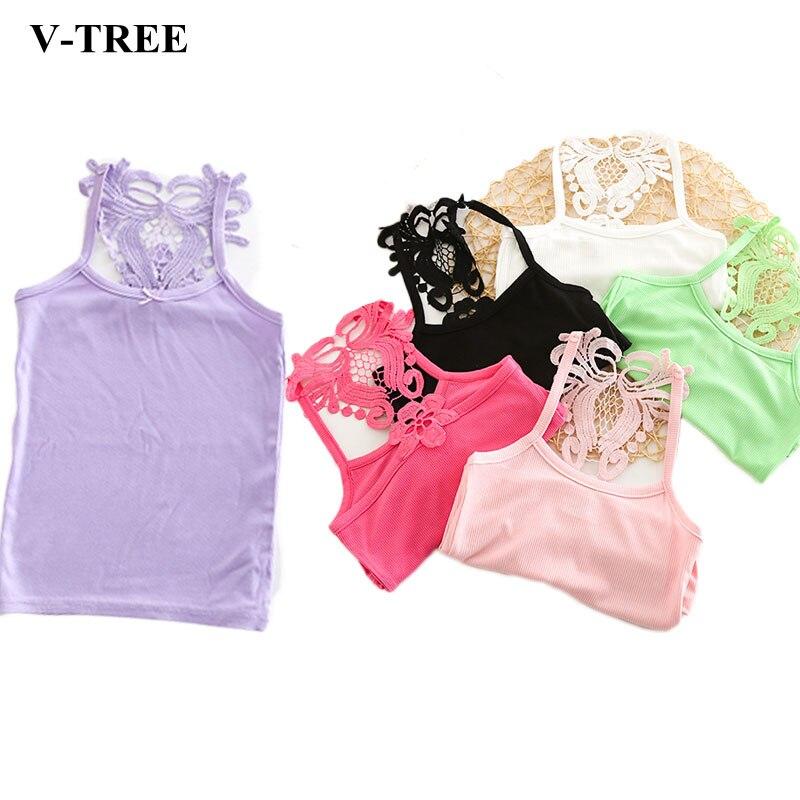 V-TREE Cotton Tops For Girls Colored Kids Underwear Girls Undershirt 2-14 Years Children T-shirt Baby Shirts Clothing все цены