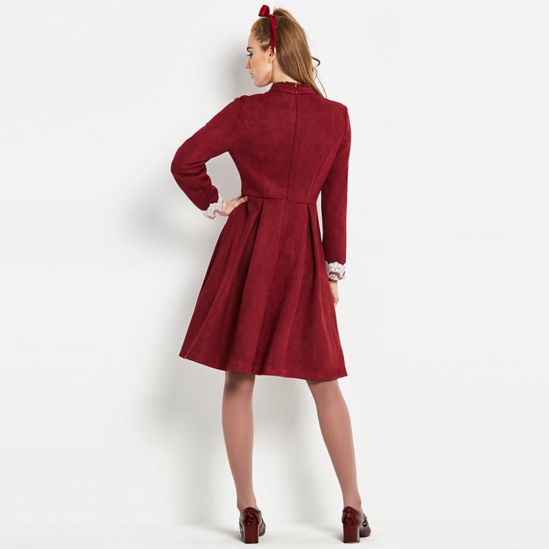 Sisjuly Vintage 1960 s Una Linea di Abiti Eleganti Autunno Patchwork  Femminile Vestito Da Partito delle Donne di lunghezza Del Ginocchio Del  Merletto Retro ... 668a3ad7b3d