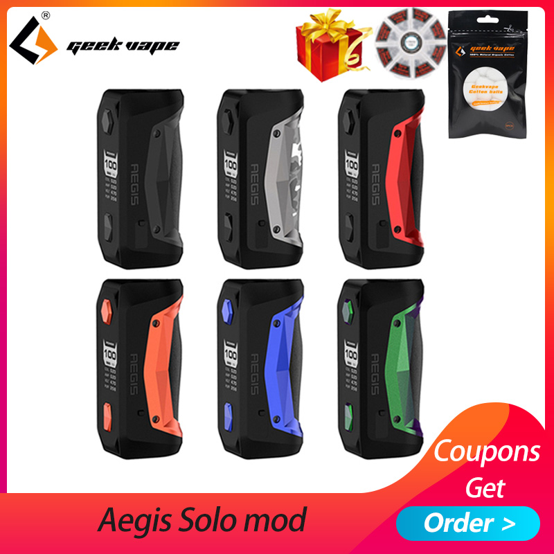 Original GeekVape Aegis Solo mod 100W Vape mod by 18650 battery for Tengu RDA E Cigarette