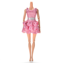 1PC Sequins Dress With Belt For Barbies Dolls 1Pc Summer Princess Clothing Mini Doll Tank Dresses