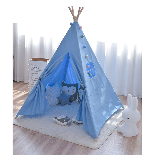 Kids Teepee Play Tent – White, Pink, Blue