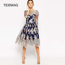 TEXIWAS 2018 Women Spring Vintage Embroidery Dress Female Elegant Robe Clothing Mesh dress Stitching Hollow Out party Dress