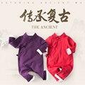 Chinês Retro Ropa Bebe Macacão de Bebê de Algodão Recém-nascidos Infantil 0-24 M Do Bebê Meninas Menino Roupas Macacão Romper a Roupa do bebê