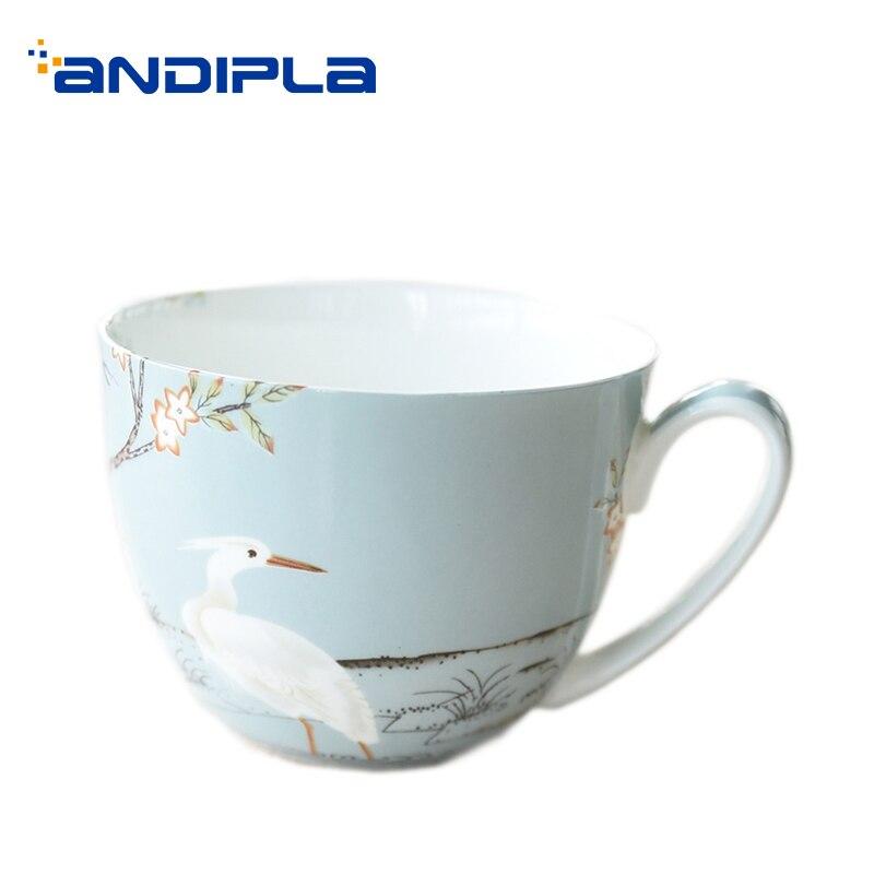 650ML Crane Pattern Ceramic Bone China Breakfast Milk Oatmeal Mug with Lid Kit Large Capacity Drinkware Home Soup Handgrip Cups Ёмкости для напитков с краном
