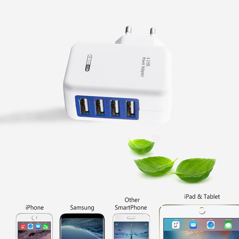 Brorikoy USB Wall Charger Untuk iPhone 6 7 iPad EU Plug 4 Port 5 V 3A - Aksesori dan suku cadang ponsel - Foto 3