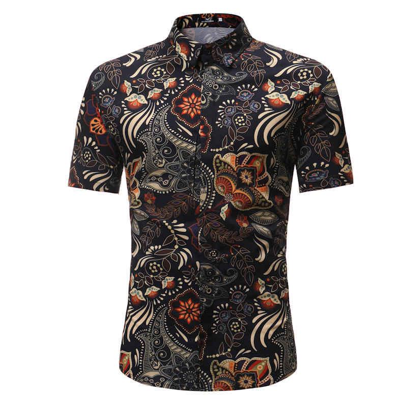 망 Hawaiian Shirt Male Casual masculina Printed Beach Shirts Short Sleeve 2019 New Fashion Brand SizeM-3XL