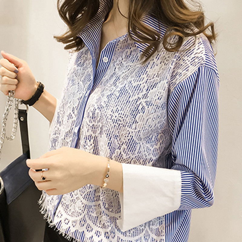 Women red blue striped shirt lace embroidery autumn spring for Red blue striped shirt