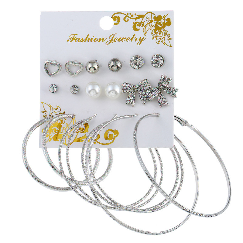 9Pair/Set Fashion Oversize Butterfly Earring Set For Women Punk Simulated Pearl Crystal Heart Stud Earrings Party Earing Jewelry