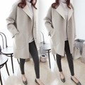 2017 Winter Fashion Clothing Big Size Slim Women Cashmere Trench Solid Full Turn-down Collar Coat DY1003 Free Shipping