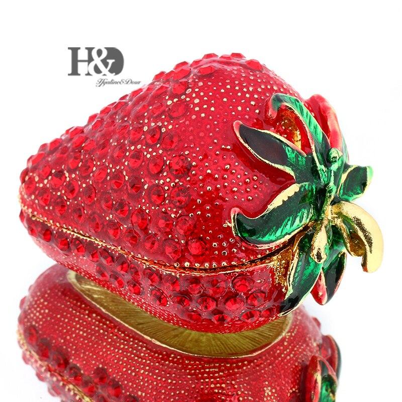 939.66руб. 10% СКИДКА|H & D 2,4 ''откидная безделушка для девочек, ручная работа, красные Клубничные безделушки, коробки, украшенные для женщин (красная клубника), рождественские подарки|box for|box for girls|box decor - AliExpress
