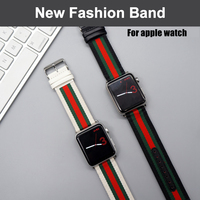 Nylon With Genuine Leather Sport Replacement Strap Wrist Band With Metal Adapter Clasp For 42mm Apple