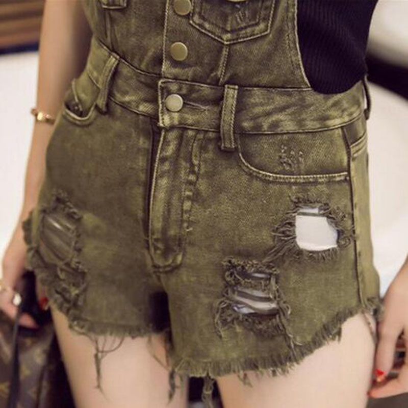 799cf21c79 Ripped Sexy Denim Overalls Women Army Green Short Rompers Womens Jumpsuit  2016 Summer Jeans Playsuit Bodysuit Jumpsuit BDK007-in Rompers from Women s  ...