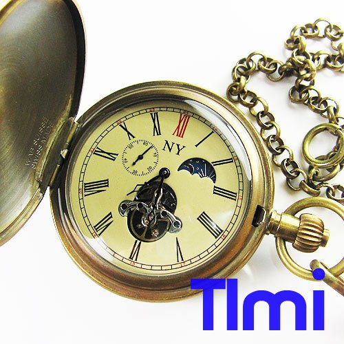 100% Brass Antique Moonphase Mechanical Pocket Watch