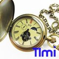 !!!100% Brass Antique Moonphase Mechanical Pocket Watch
