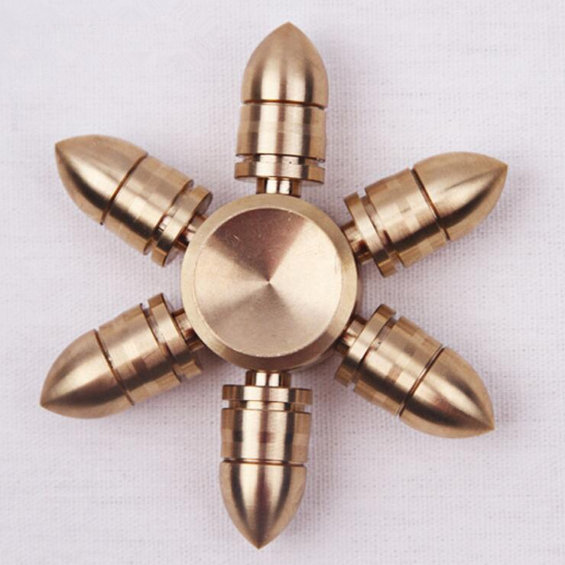 Bullet head design copper Toy Hand Spinner Metal Tri Fidget Spinner Anti Stress New Year Gift