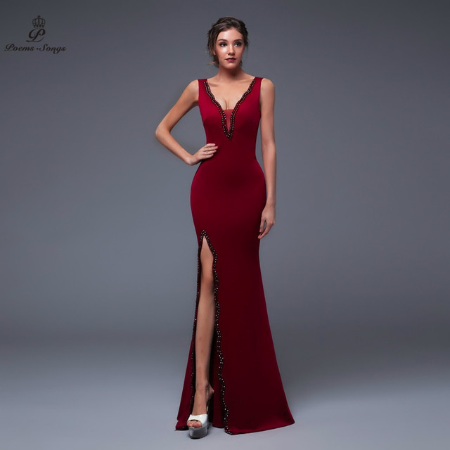 Poems Songs 2019 New Year Doube-V SEXY Evening Prom Slit Side Open Mermaid  Party dress vestido de festa Vintage robe longue